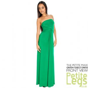 Gisele Bandeau Strapless Petite Height Maxi Dress in Green | UK Sizes 10 + 12 | Petite Height Select: 4ft7 - 5ft 5